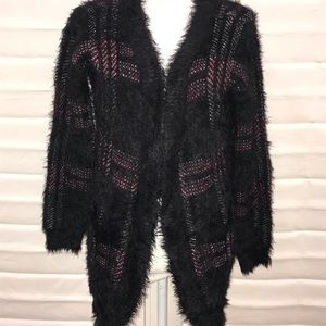 💟Rock&republic Cozy Red/Blk Plaid Open Cardigan M